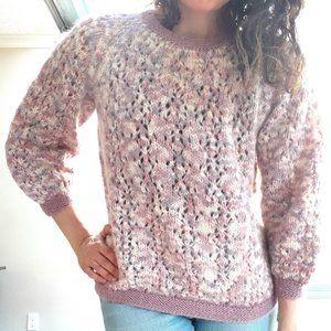 Purple Pink Knit Sweater - Vintage M L